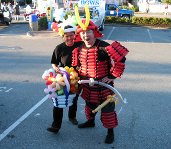 Florence and Anderson in Balloon Samurai Armour